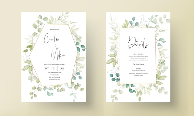 Beautiful wedding invitation card with leaves decoration
