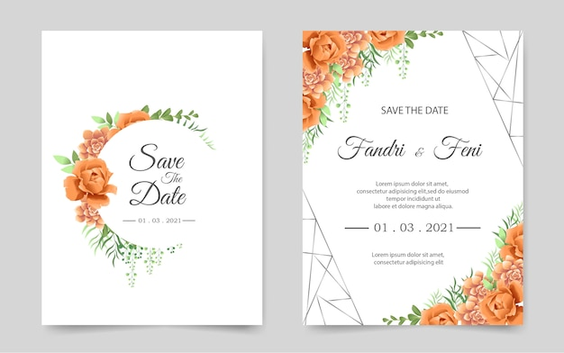 Beautiful wedding invitation card with orange flower