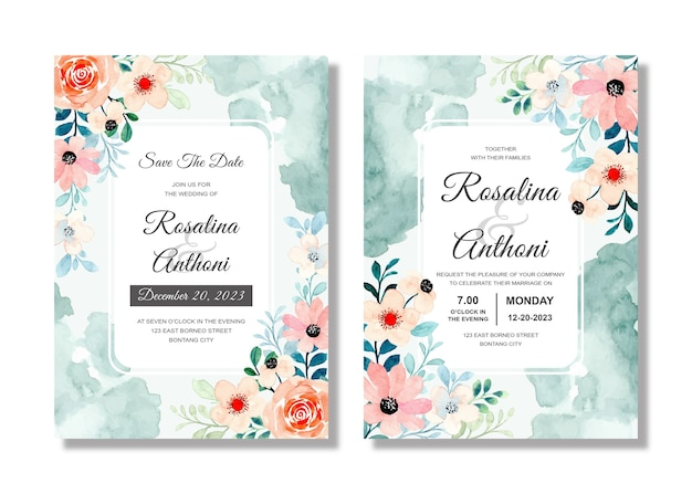 Beautiful wedding invitation card with pink peach floral watercolor