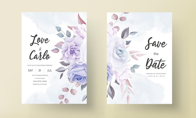 Beautiful wedding invitation card with purple flower ornament