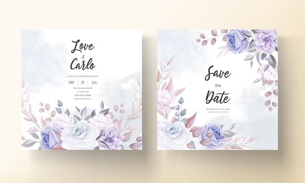 보라색 꽃 장식으로 아름 다운 결혼식 초대 카드