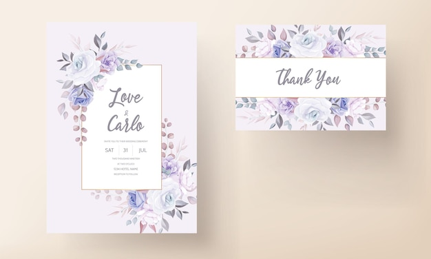 Красивая свадебная пригласительная открытка с фиолетовым цветочным орнаментом