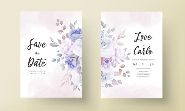 Красивая свадебная пригласительная открытка с фиолетовыми цветами