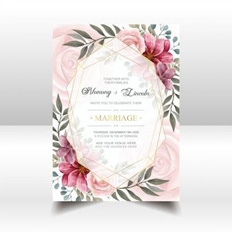 Beautiful wedding invitation card with vintage watercolor floral and golden frame
