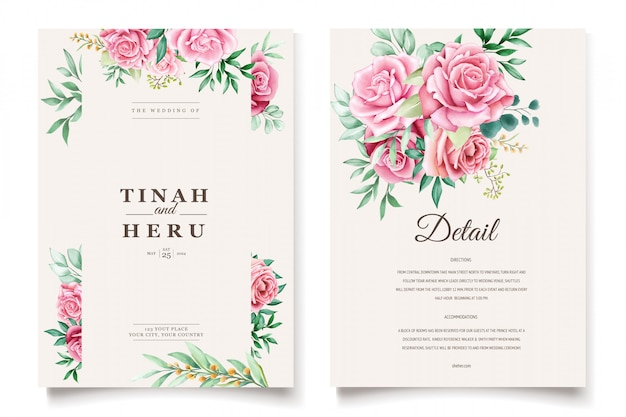 Beautiful wedding invitation card with watercolor floral wreath