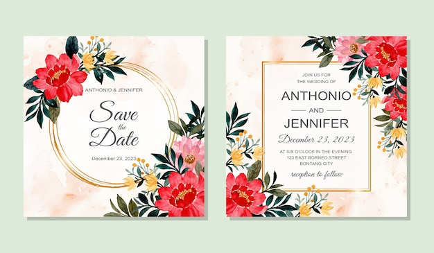 Beautiful wedding invitation card with watercolor floral