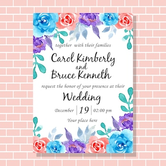 Beautiful wedding invitation card with watercolor flower