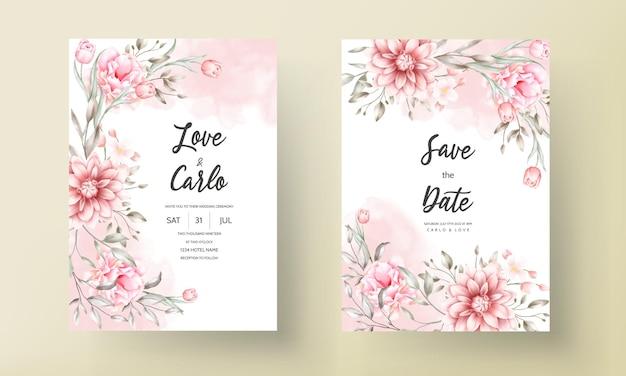 수채화 꽃과 아름 다운 결혼식 초대 카드