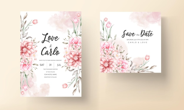 Beautiful wedding invitation card with watercolor flowers