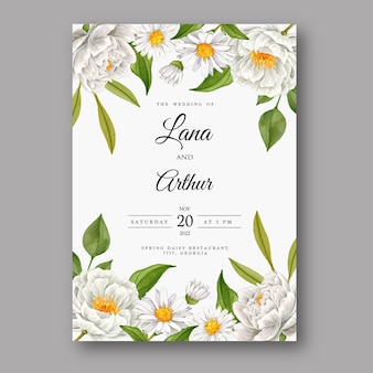 Beautiful wedding invitation card with watercolor white flower
