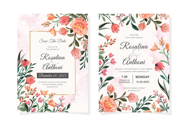 Beautiful wedding invitation card with wild floral watercolor