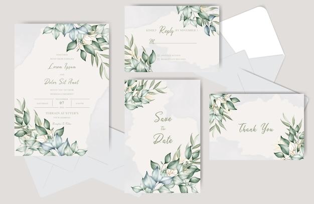 美しい結婚式の招待カードセットスプラッシュ水彩画と花のテンプレート