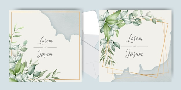 Beautiful wedding invitation cards set template with splash watercolor and floral