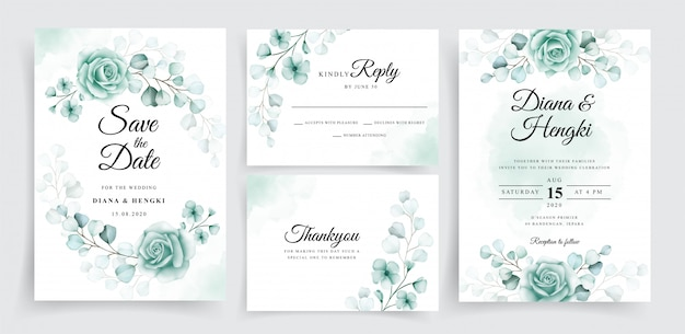 Beautiful wedding invitation cards template set with watercolor eucalyptus