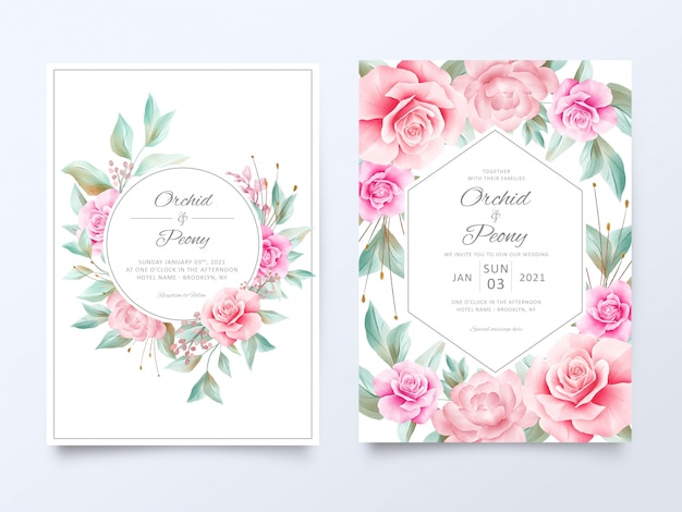 Beautiful wedding invitation cards template with soft watercolor flowers decoration