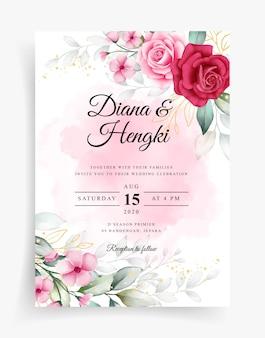 수채화 꽃 장식으로 아름 다운 결혼식 초대 카드 템플릿