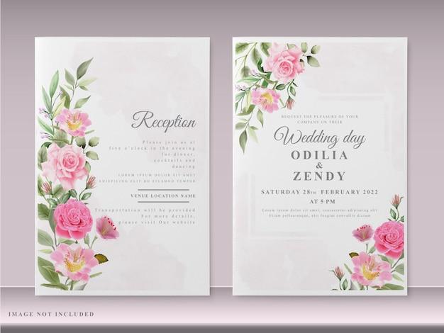 Красивые свадебные приглашения с рисованной розовыми цветами