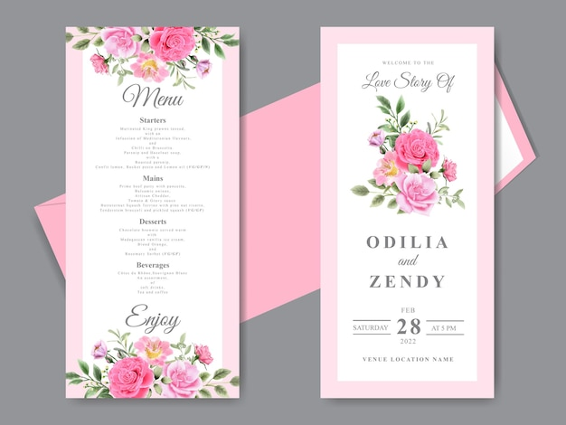 Beautiful wedding invitation cards with hand drawn pink floral