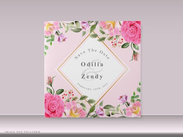 손으로 그린 핑크 꽃과 아름 다운 결혼식 초대 카드