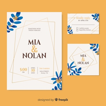 Beautiful wedding invitation on  cream-colored background