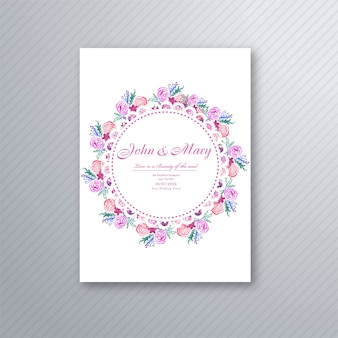 Beautiful wedding invitation decorative floral card template design