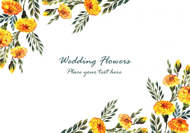 Beautiful wedding invitation decorative flowers frame