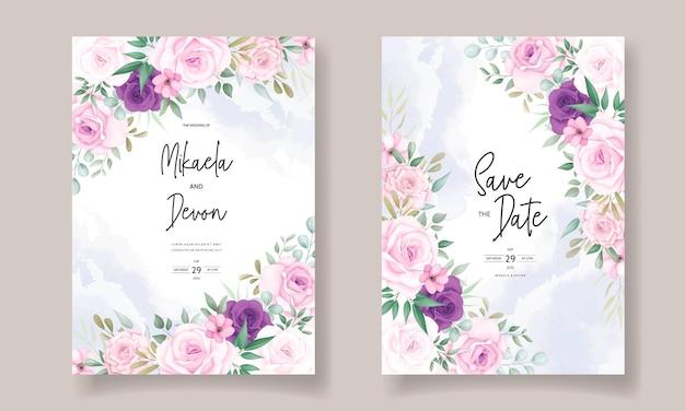 美しい花の装飾品と美しい結婚式の招待状のデザイン