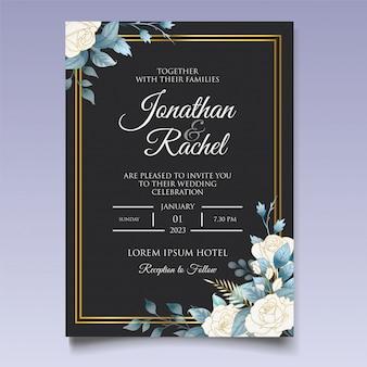 아름 다운 청첩장 꽃과 나뭇잎 카드 템플릿