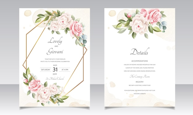 Beautiful wedding invitation floral card with golden frame