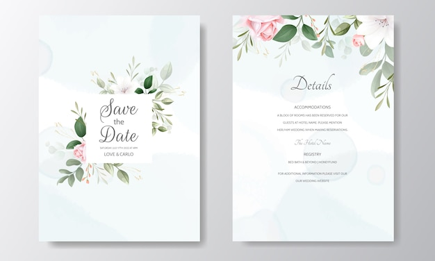 Beautiful wedding invitation floral watercolor and green leaves
