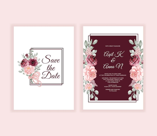 Beautiful wedding invitation flower and leaves frame