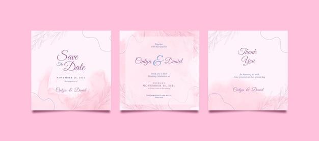 Instagramの投稿のための美しい結婚式の招待状