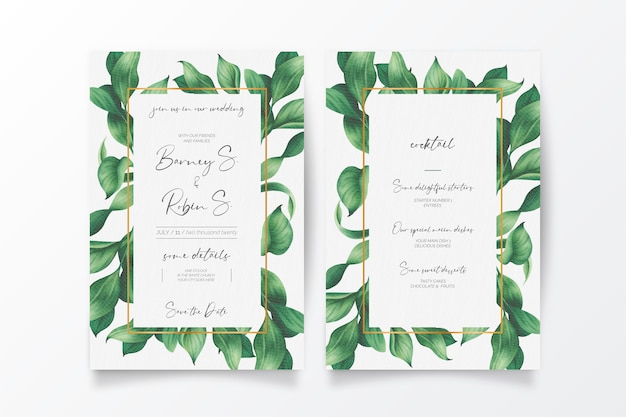 Beautiful wedding invitation and menu with wild leaves