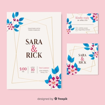 Beautiful wedding invitation on  pink background