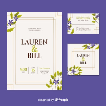 Beautiful wedding invitation on  purple background