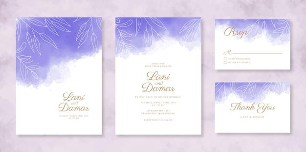 Шаблон набора красивых свадебных приглашений с ручной росписью акварелью и штриховой графикой