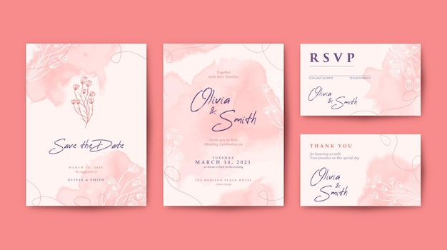 カラフルな花で設定された美しい結婚式の招待状