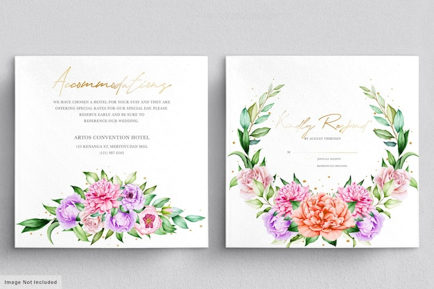 Beautiful wedding invitation set with watercolor flowers