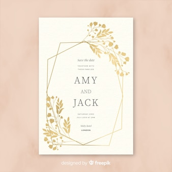 Beautiful wedding invitation template in flat design