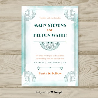 Beautiful wedding invitation template in art deco style