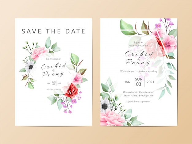 Beautiful wedding invitation template set of watercolor floral