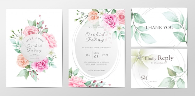 Beautiful wedding invitation template set of watercolor flowers
