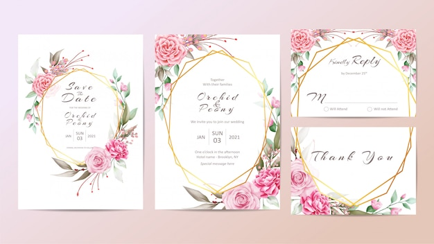 Beautiful wedding invitation template set with roses and peonies