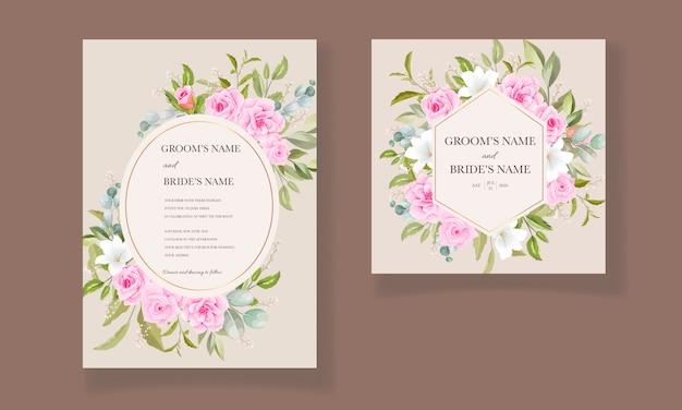 Красивый шаблон свадебного приглашения с нежно-розовой цветочной рамкой и бордюром