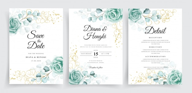 Beautiful wedding invitation template set with watercolor eucalyptus