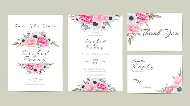 Beautiful wedding invitation template set with watercolor floral