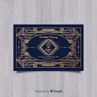 Красивый шаблон приглашения на свадьбу с концепцией арт-деко