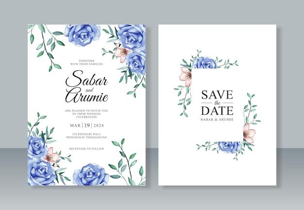 파란 장미 수채화 그림으로 아름 다운 결혼식 초대장 서식 파일