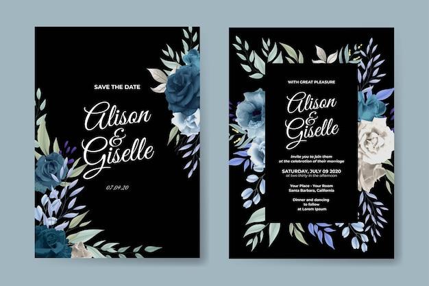 青いバラの美しい結婚式の招待状のテンプレート