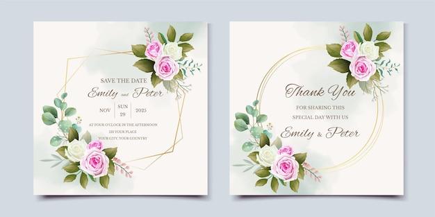 Красивый шаблон свадебного приглашения с цветами и листьями
